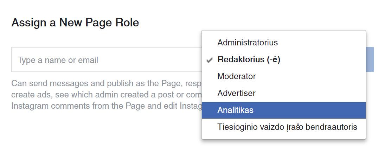 Atsakingai parinkite facebook puslapį administruojančio žmogaus rolę