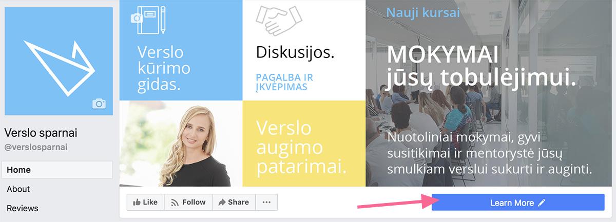 CTA mygtukas po Facebook viršeliu