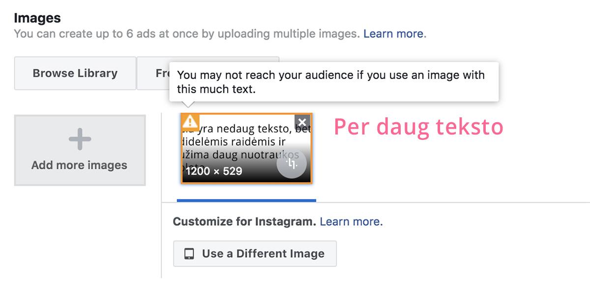 Facebook reklamos tekstas