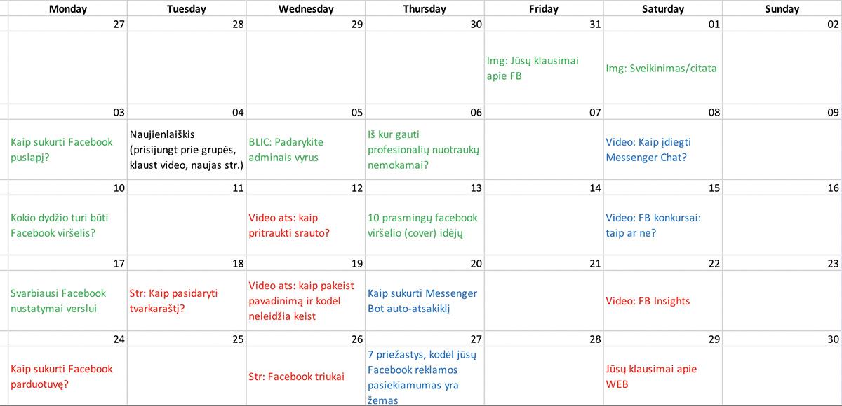 Facebook įrašų kalendorius