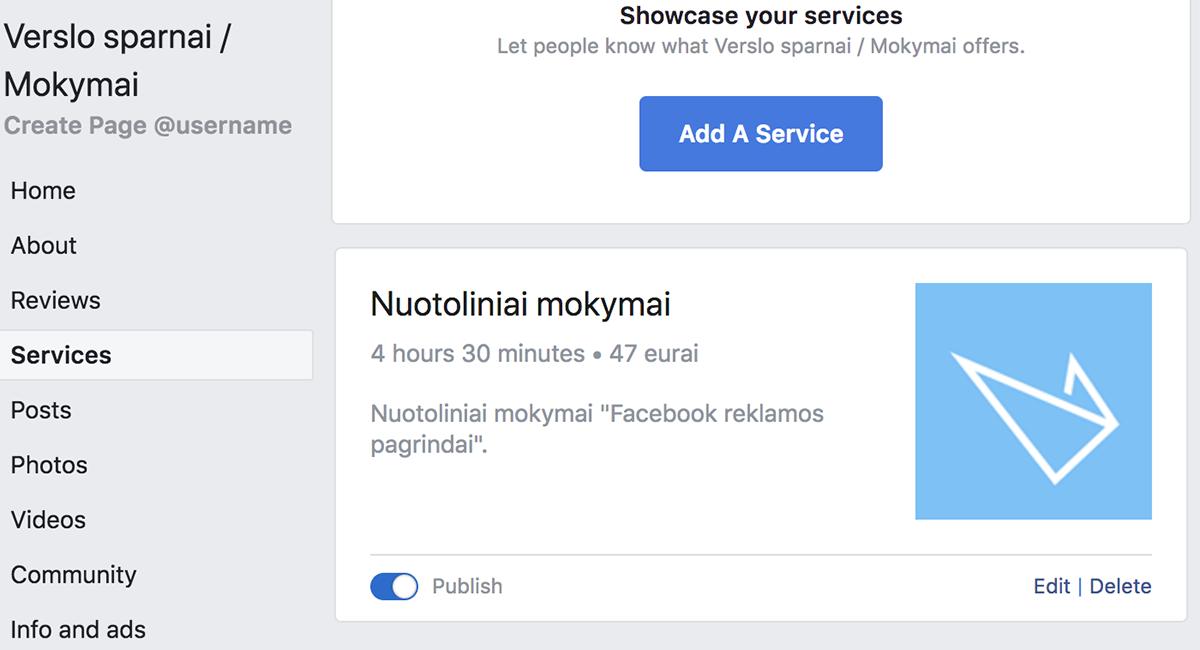 Paslaugų sąrašas Facebook puslapyje
