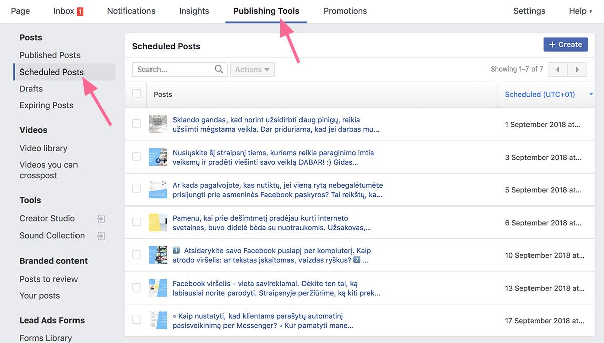 Facebook įrašų plano lentelė