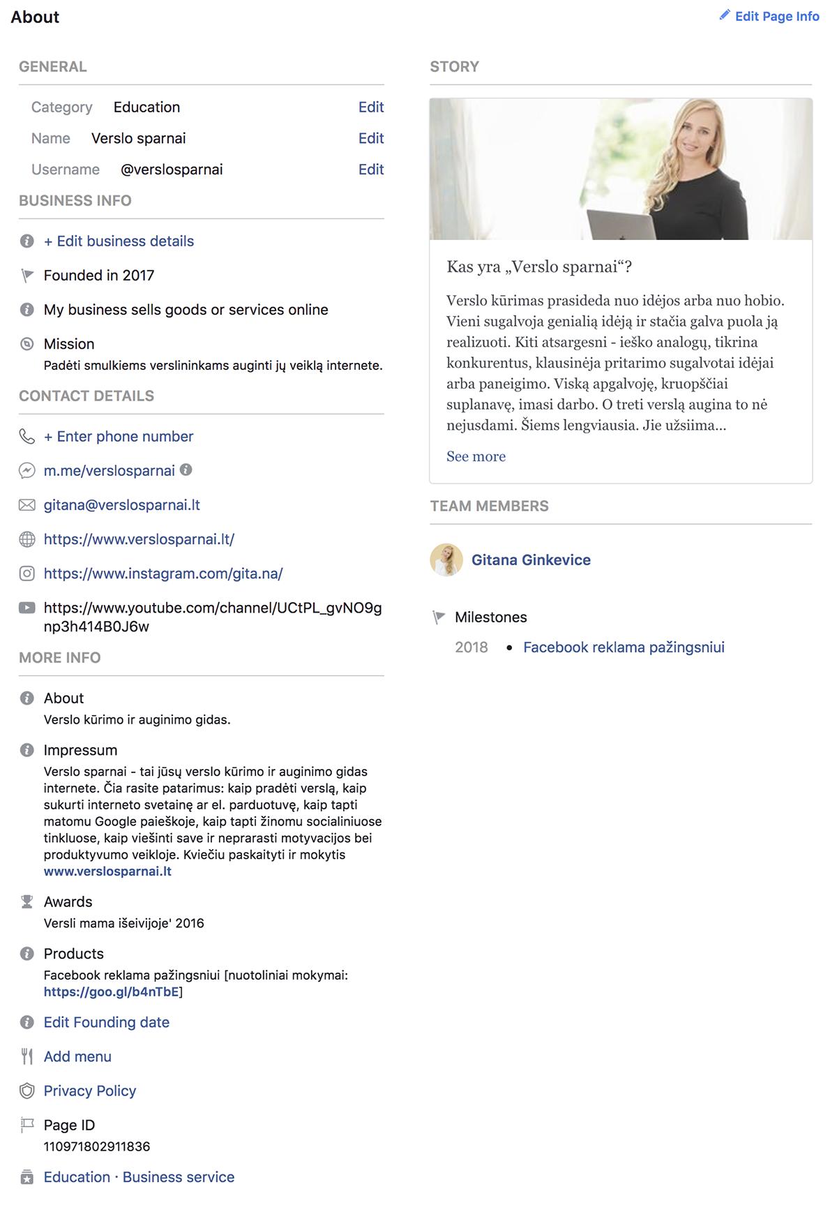 Facebook verslo puslapis Apie
