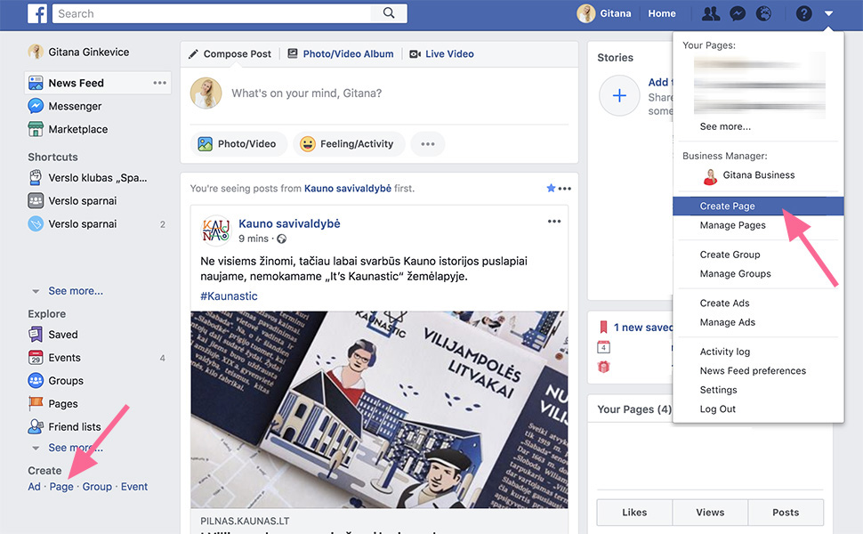 Sukurti Facebook puslapį