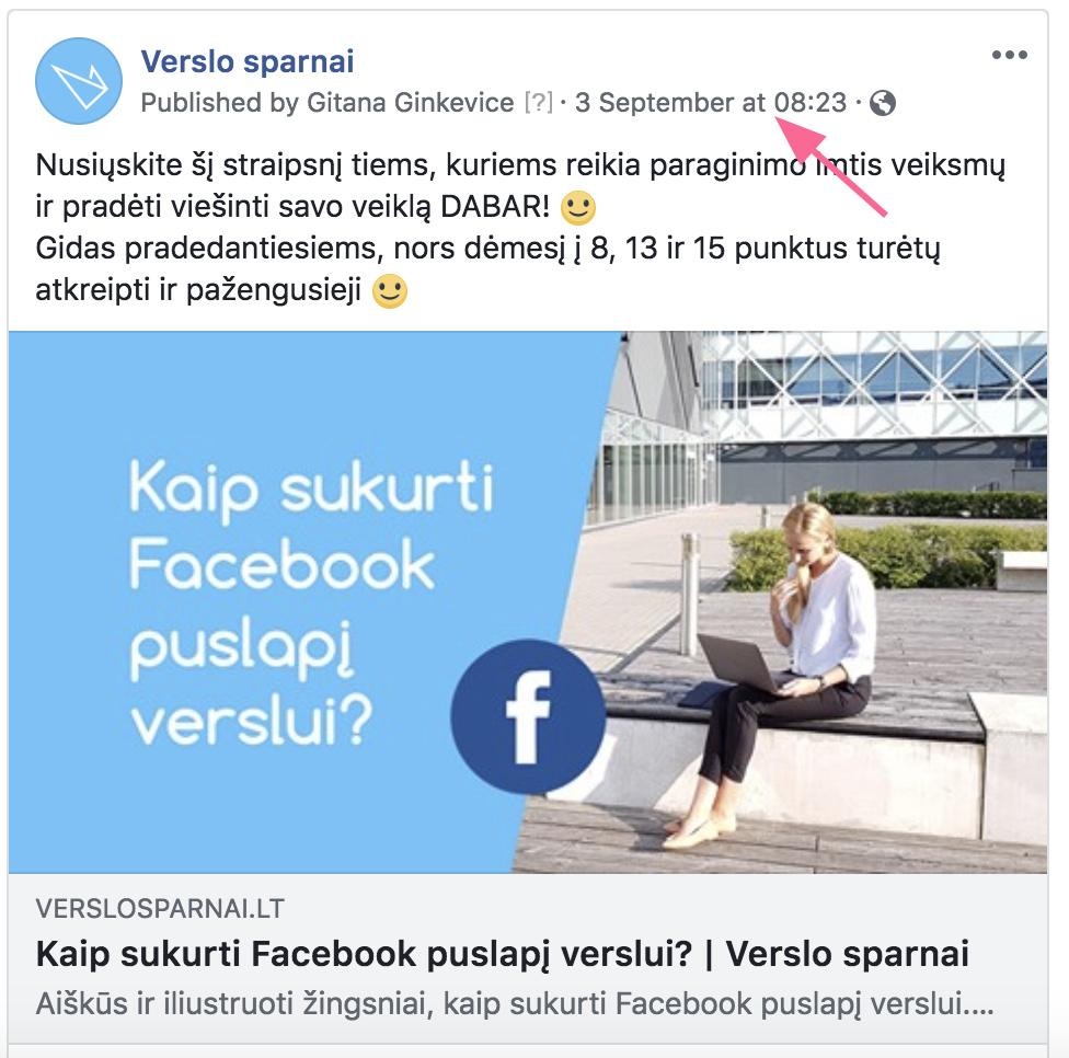 Facebook įrašo nuoroda