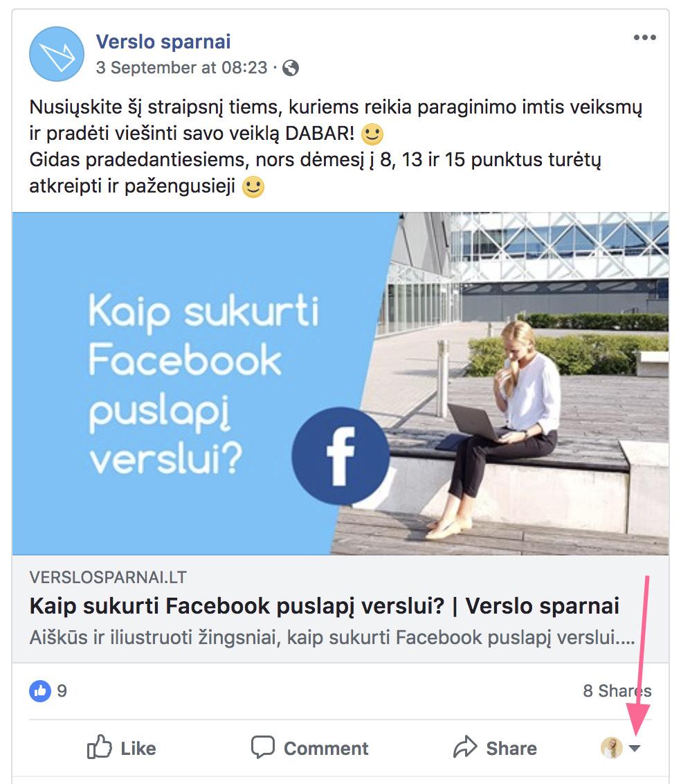Facebook gudrybės komentuoti kaip puslapis