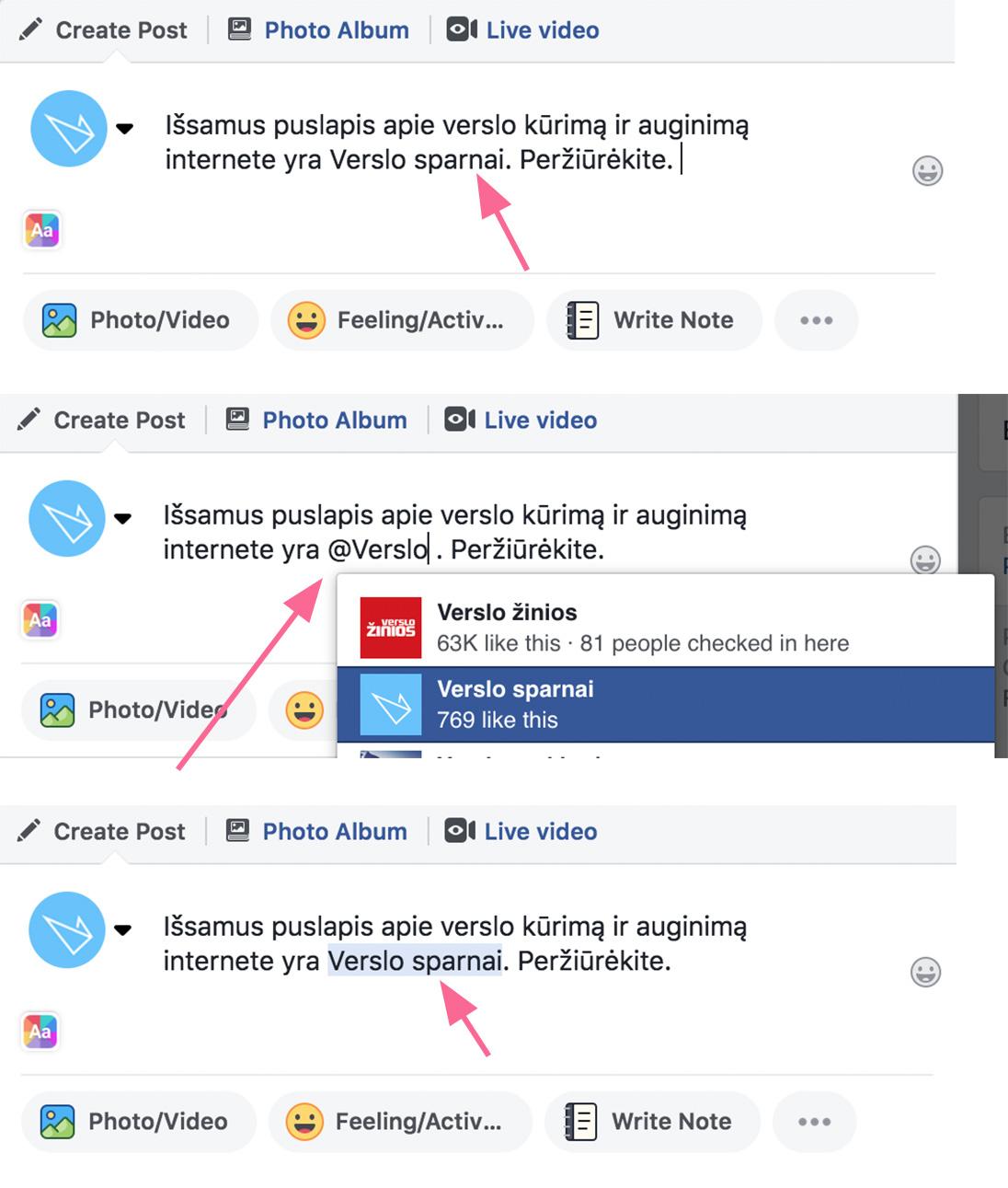 Kaip užtaginti Facebook puslapį