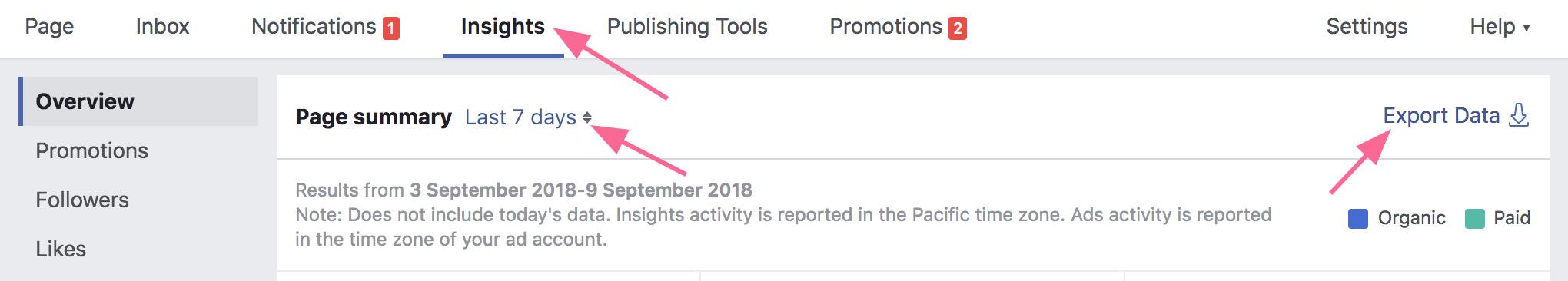 Facebook statistika: nurodyti datą
