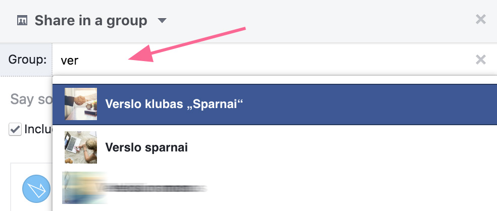 Pasidalinti turiniu Facebook grupėse
