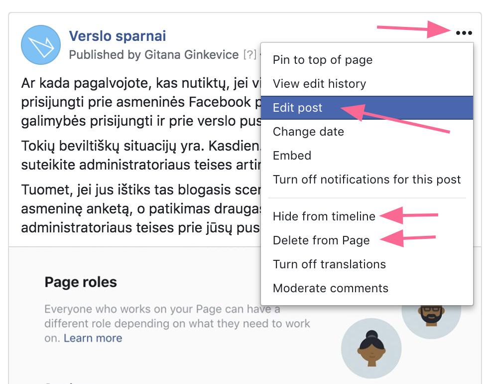 Redaguoti Facebook įrašą
