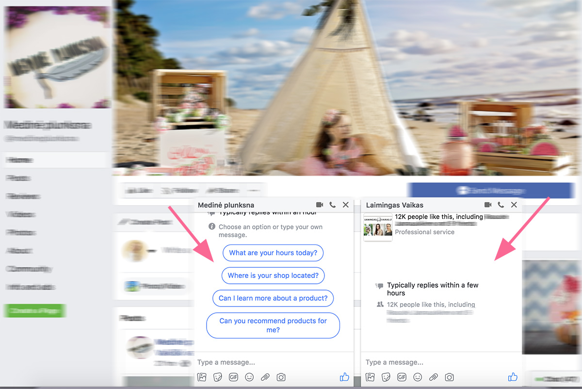 Facebook žinučių langas