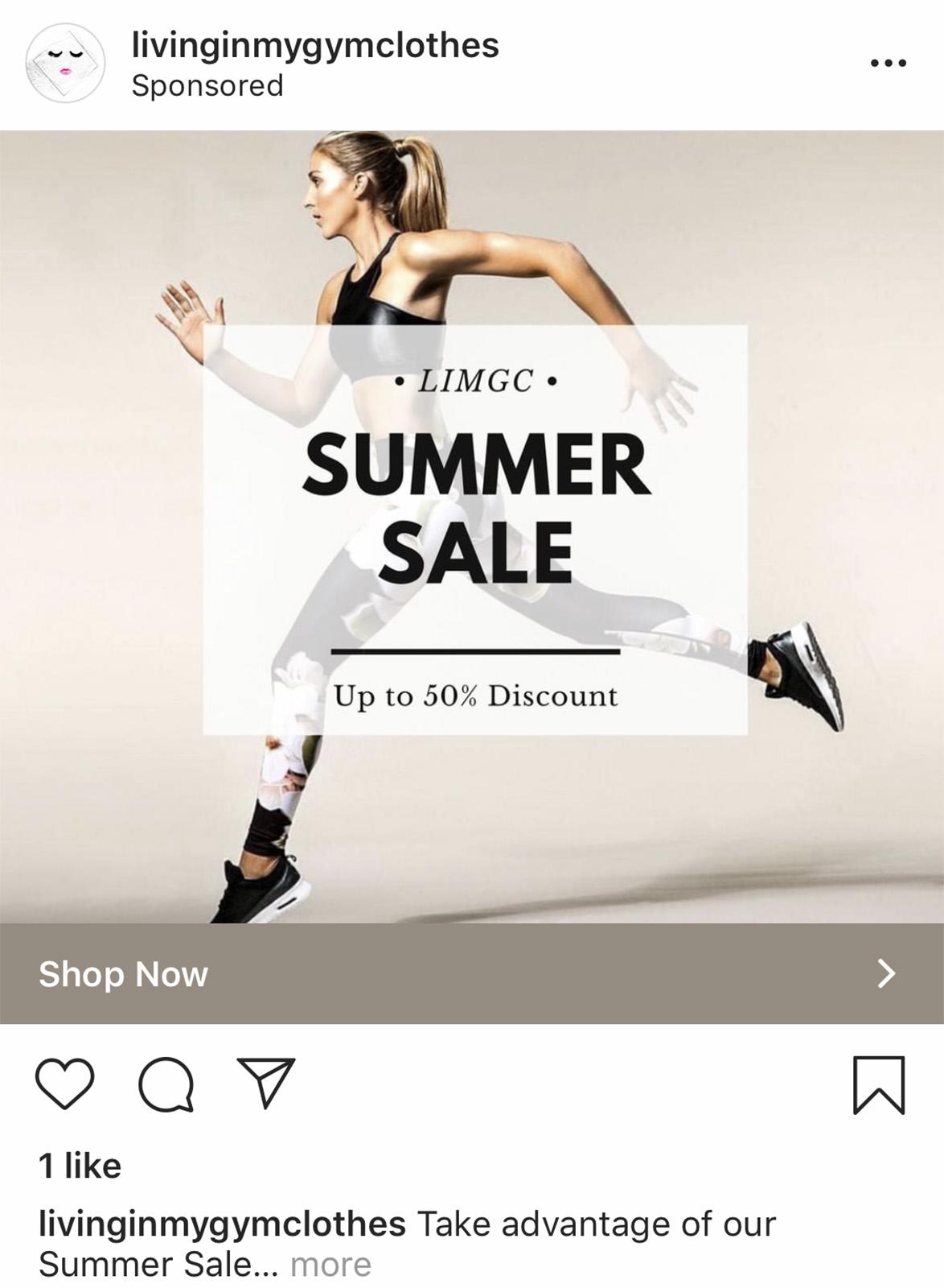 """Paveikslėlio Instagram reklamos su mygtuku """"Shop now"""""""