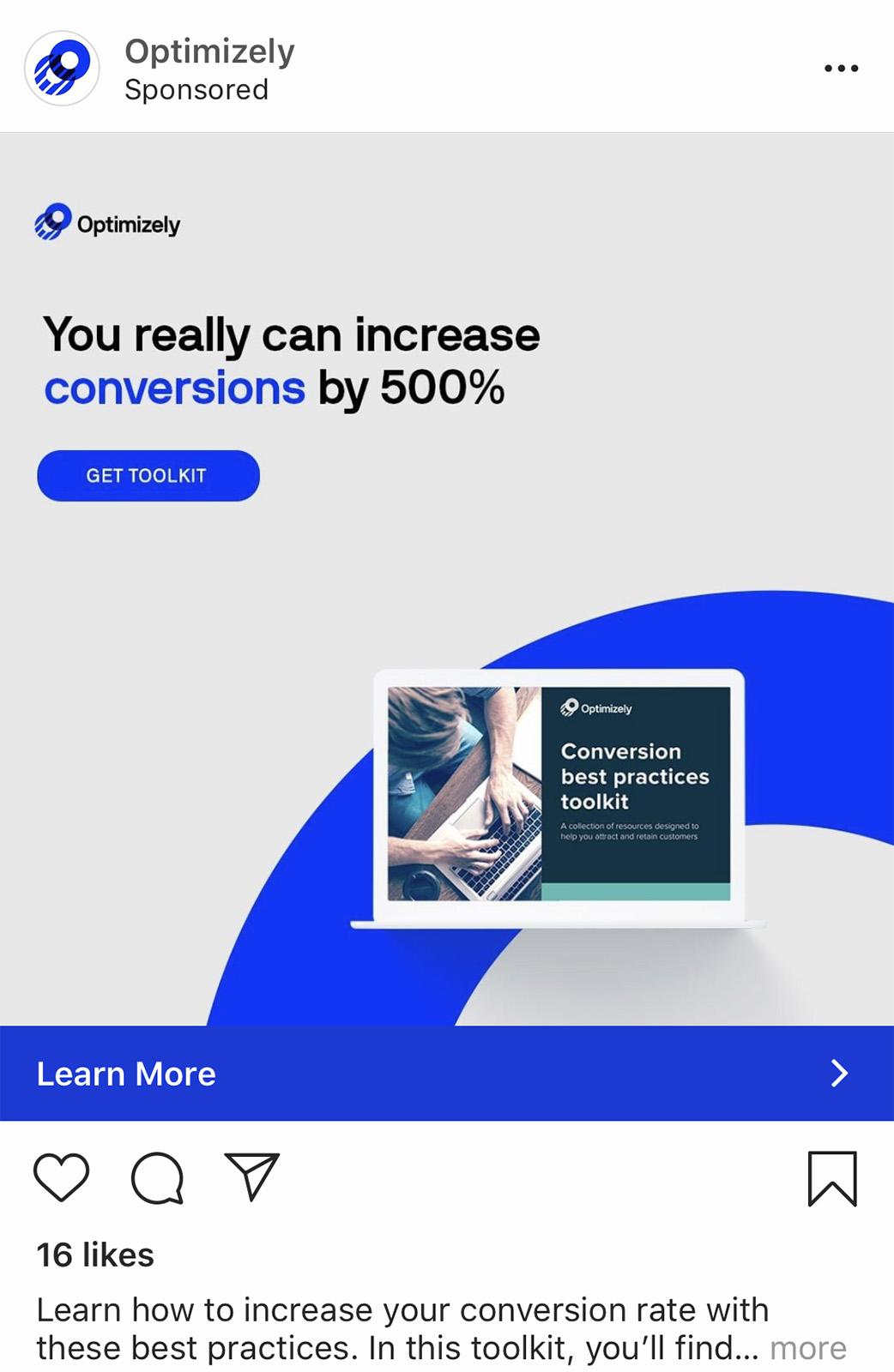 """Paveikslėlio Instagram reklamos su mygtuku """"Learn more"""""""
