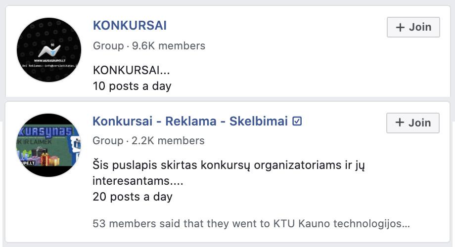 Facebook konkursų grupės